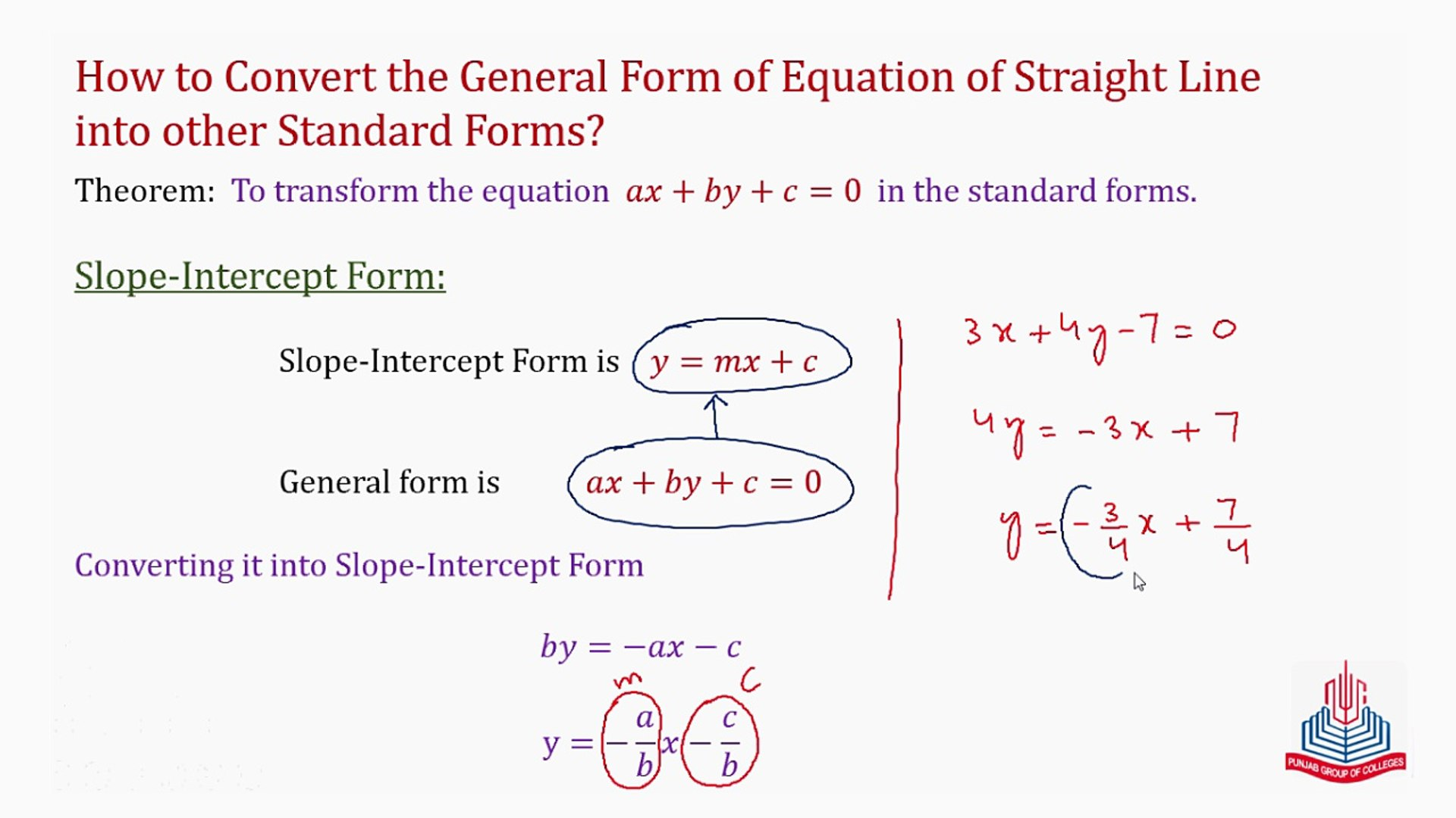 intercept form to general form  How to convert the general forminto other Standards forms ?