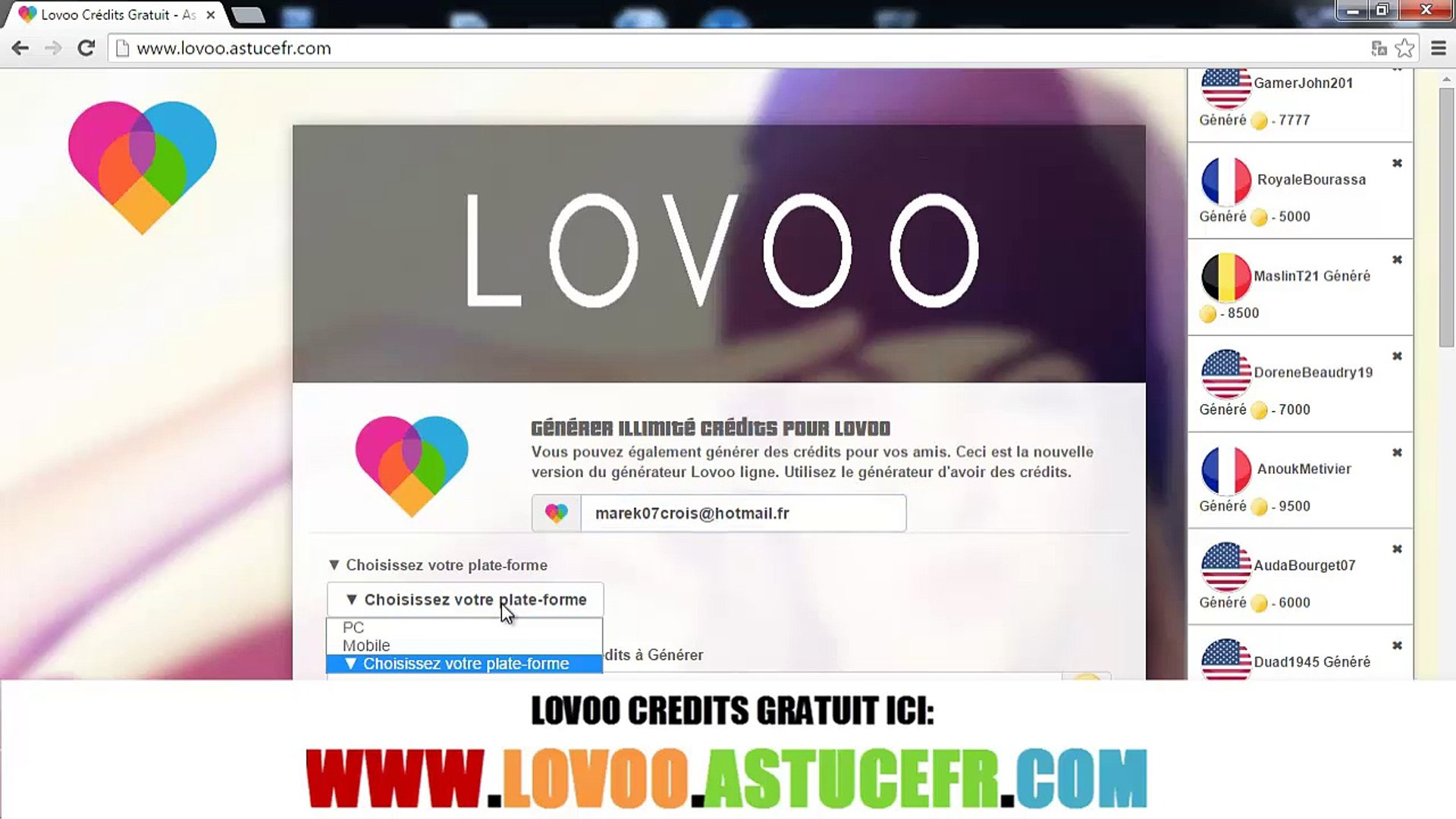 Lovoo free credits erhalten