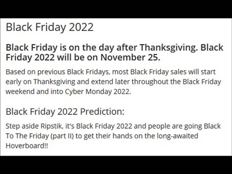 Black Friday 2022 Dailymotion Video