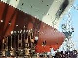 Ship launching in Uljanik shipyard, Pula