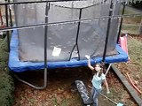 Frozen Trampoline Front Flip Barefooted Snow and Ice