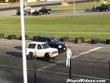 Jeep SRT8 race crash, sideswiped