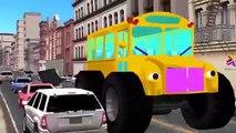 School Bus Cartoons for Children | School Bus Crushing Cars | Police Cars School Monster T