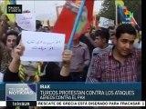 Kurdos marchan en Turquía para exigir cesen ataques contra su pueblo