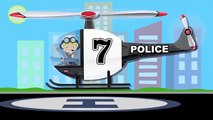 Police Helicopters Teaching Numbers 1 to 10 - Helicopter Number Counting for Kids