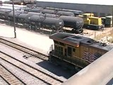 3 way meet!!! Freight Trains in UP West Colton Yard