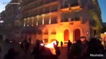 Athens square burns in night clashes before Greece's future is decided