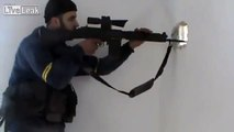 Sniper almost Gets Sniped in Syria (Free Syrian Army video)