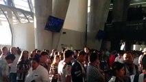 Largas filas para las chelas en el nuevo estadio de Rayados