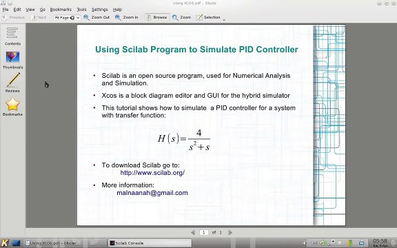 Using Scilab-XCOS to simulate PID controller ogv