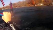 Kitesurfing (kiteboarding) Lake Cayuga in Ithaca, New York