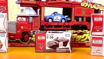 Disney Pixar Cars Fire Rescue Squad Mack Hauler With Tomy Lightning McQueen Mater Police Sally