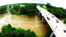 Aerials of Georgetown Texas - San Gabriel River Flooded - on Memorial Day Weekend 2015