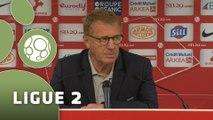 Conférence de presse Stade Brestois 29 - Nîmes Olympique (2-0) : Alex  DUPONT (BREST) - José  PASQUALETTI (NIMES) - 2015/2016