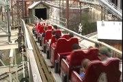 Six Flags Fiesta Park Rattler Wood Roller Coaster Bend Off Ride POV Before Iron Rattler