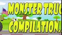 Monster Trucks for Children | Green Monster Truck with American Flag | Monster Truck Compilation