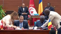 موكب توقيع اتفاقيات بين تونس والتشاد