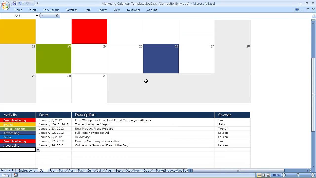 Marketing Communications Calendar Template 2012