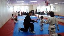 Un enfant casse une planche avec son pied au taekwondo