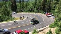 Chute impressionnante du cycliste Matthew Brammeier qui percute violemment une voiture dans un virage Tour de l'Utah