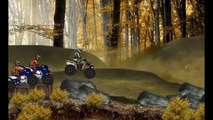 The race through the woods on quad bikes, cartoon about transport, about the video for boys