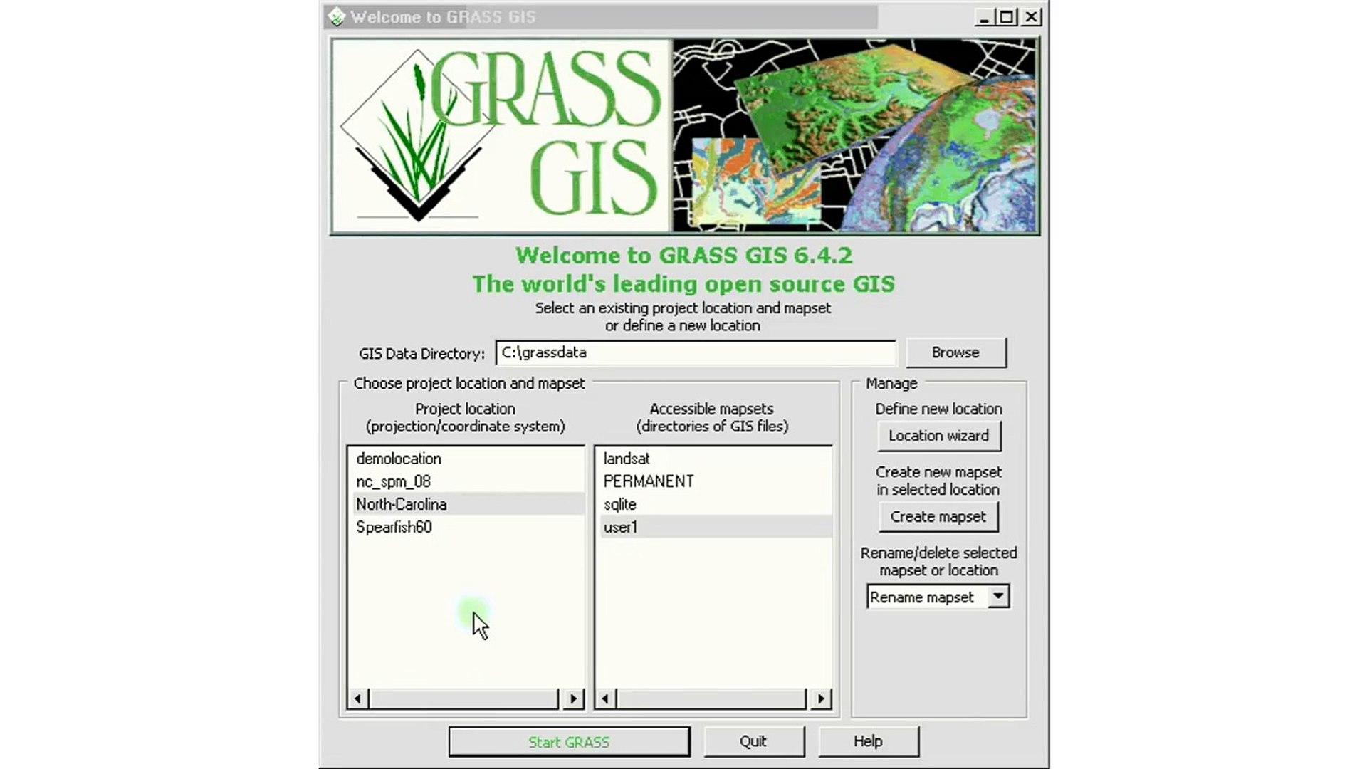 GRASS GIS Tutorials - Tutorial 5 - Project Data Management