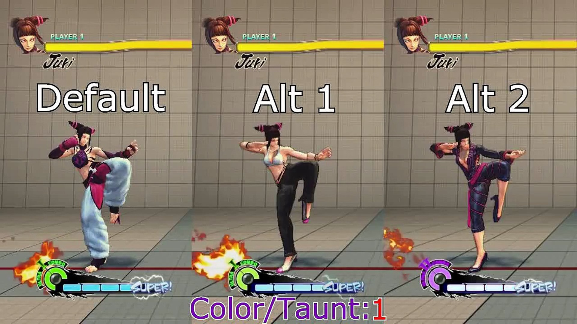 Super Street Fighter 4 Juri All Taunts Colors And Costumes