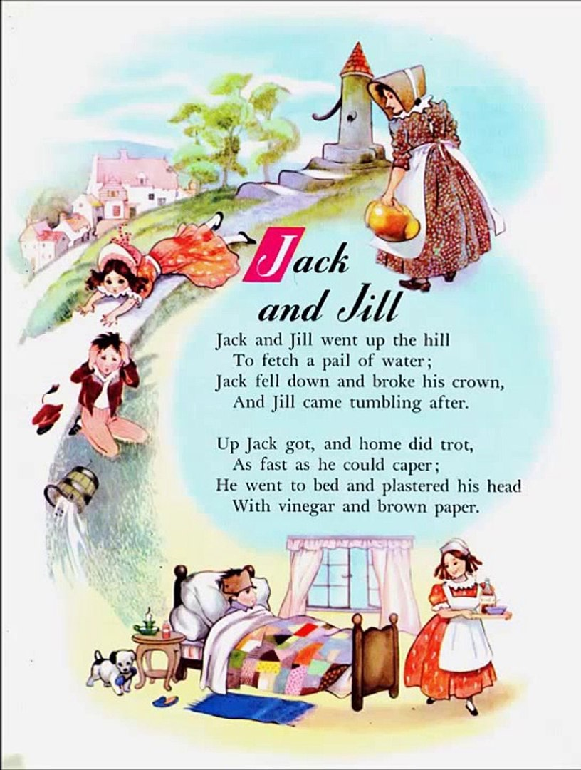 Jack And Jill Went Up The Hill. Mother Goose Nursery Rhymes. English Children Songs.