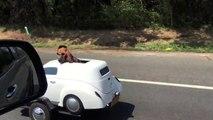 Une remorque mini-voiture pour chien ! On part quand en vacances ?
