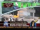 Michael Jackson's Golden Casket Arrives At Staples Center