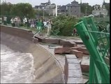 Awesome tidal wave caused by Typhoon Trami in Zhejiang province, China