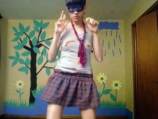 Me dancing, skinny girl dancing, webcam video, girl in mask