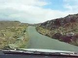 A stretch of bumpy windy coastal Irish road in the Beara P.