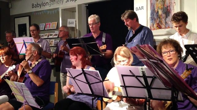The Rocking Ukuleles of Ely - Singing in the Rain -Babylon Gallery 14 August 2015