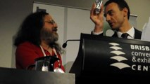 Presenter jokes with Richard Stallman at Brisbane 2010