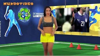 Apresentadora tira a roupa para apresentar carreira de Pirlo