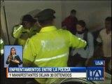 Enfrentamientos entre la policía y manifestantes dejan 30 detenidos en Loja