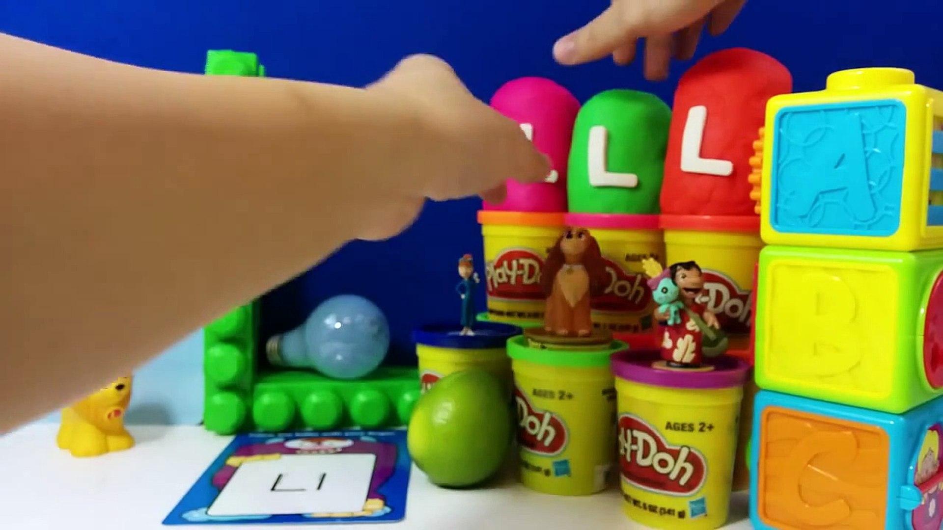 The Letter L with ABC Surprise Eggs   Luke Skywalker Lilo Lightning McQueen Lady Lapras