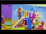 Barbie Amusement Park with Frozen Elsa and Annas Kids at Kelly Fun Fair Kiddie Rides Bumper Cars Toy