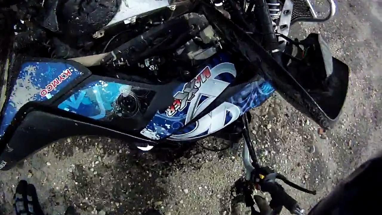 crash chute de debutant en quad kymco maxxer