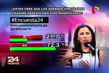 Encuesta 24: 72.3% no cree que agendas vinculadas a Nadine hayan sido manipuladas
