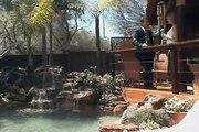 chute pour piscine, chute en roche artificielle pour piscine