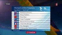 100m libre F (demi-finales) - ChM 2015 natation (Bonnet, Sjöström, Campbell, Heemskerk)