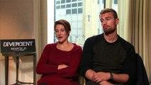 Shailene Woodley tells a joke and Theo James raps