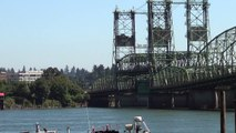 Interstate I5 bridge over the Columbia River @ Vancouver, WA opens as ship head East 7/9/13