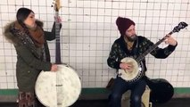 "Coyote & Crow Busking @ 14th St./6th Ave Subway NYC- Original Song ""Most of These Days"""
