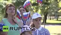 Russia Huge Russian flag unfurled in Moscow to celebrate National Flag Day