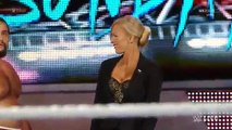 WWE Raw 8-17-15 Dolph Ziggler returns and helps Lana against Rusev and Summer Rae -