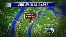Sidewalk COLLAPSES beneath overweight woman as she runs she drops down seven feet N.Y.