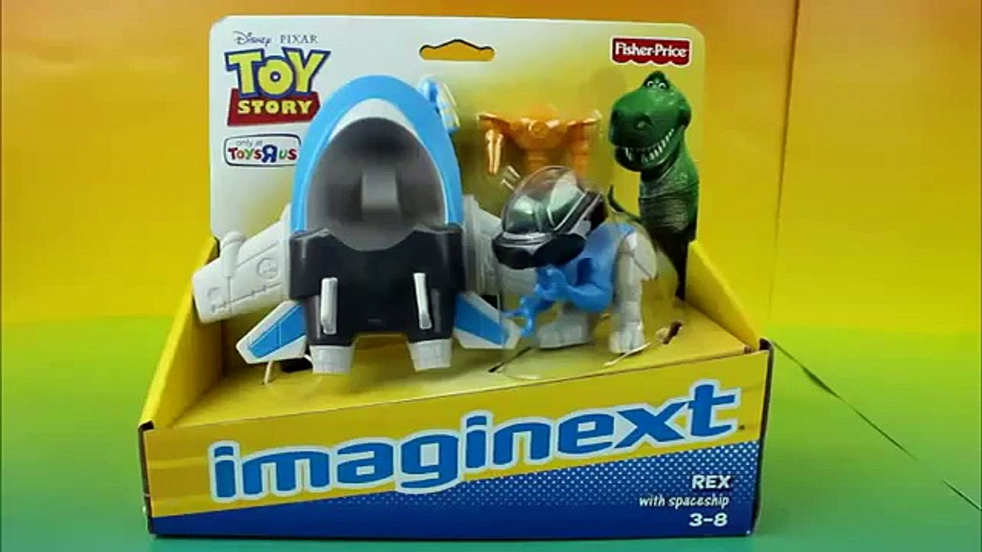 Toy Story Imaginext Rex with Spaceship Rex saves Buzz Lightyear & Woody from Zerg Pizza Planet